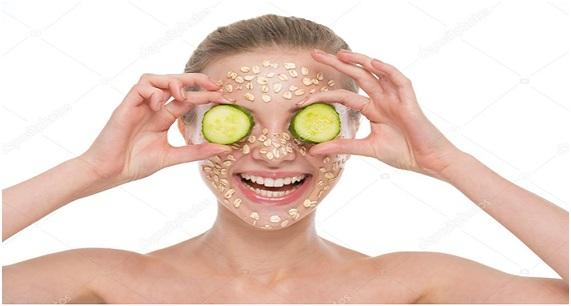 mascarilla de pepino y avena para el acne